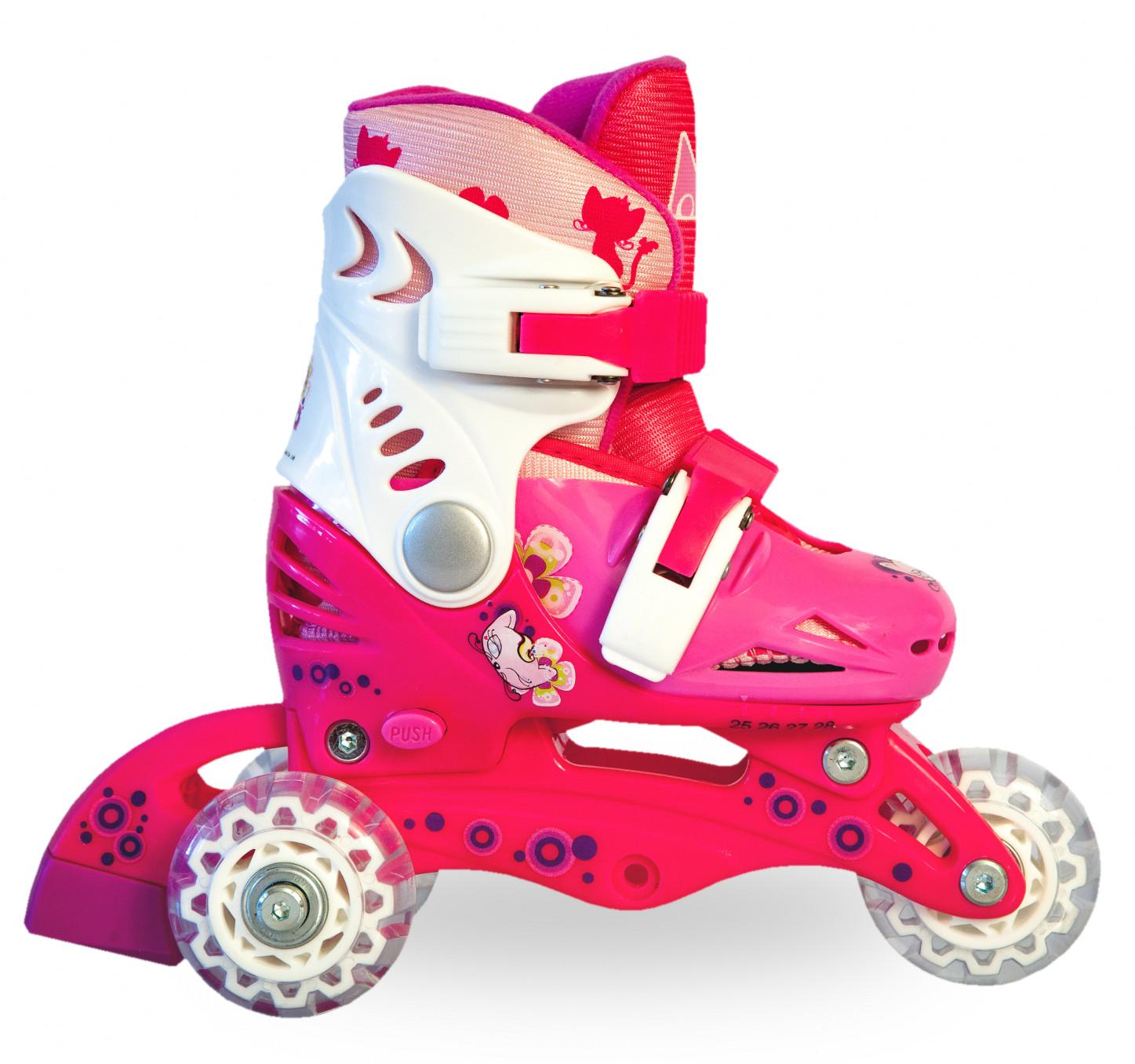 Ролики детские 26 размер, для обучения (трансформеры, раздвижной ботинок) MagicWheels розовые, - фото 6