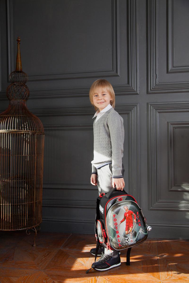 Ранец для первоклассника Hummingbird TK60 Футбол серый с мешком для обуви + пенал, - фото 5